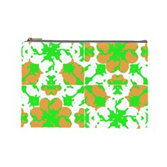 Graphic Floral Seamless Pattern Mosaic Cosmetic Bag (large)