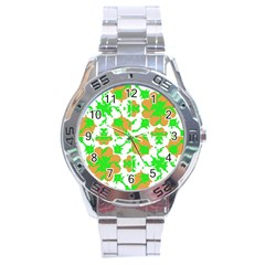 Graphic Floral Seamless Pattern Mosaic Stainless Steel Analogue Watch