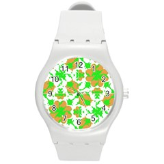 Graphic Floral Seamless Pattern Mosaic Round Plastic Sport Watch (M)