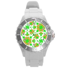 Graphic Floral Seamless Pattern Mosaic Round Plastic Sport Watch (L)