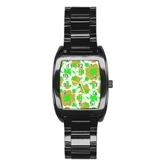 Graphic Floral Seamless Pattern Mosaic Stainless Steel Barrel Watch