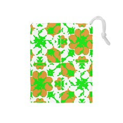 Graphic Floral Seamless Pattern Mosaic Drawstring Pouches (Medium)
