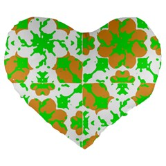 Graphic Floral Seamless Pattern Mosaic Large 19  Premium Flano Heart Shape Cushions