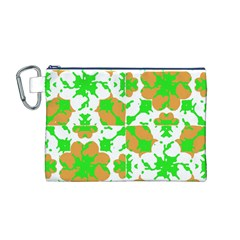 Graphic Floral Seamless Pattern Mosaic Canvas Cosmetic Bag (M)