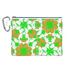 Graphic Floral Seamless Pattern Mosaic Canvas Cosmetic Bag (L)