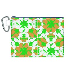Graphic Floral Seamless Pattern Mosaic Canvas Cosmetic Bag (XL)