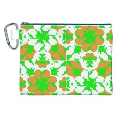 Graphic Floral Seamless Pattern Mosaic Canvas Cosmetic Bag (XXL)