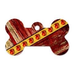 Wood And Jewels Dog Tag Bone (two Sides)