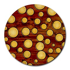 Wood and gold Round Mousepads