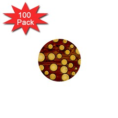 Wood and gold 1  Mini Buttons (100 pack)
