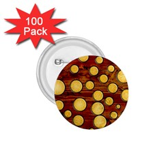 Wood And Gold 1 75  Buttons (100 Pack)