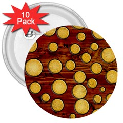 Wood and gold 3  Buttons (10 pack)