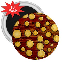 Wood And Gold 3  Magnets (10 Pack)