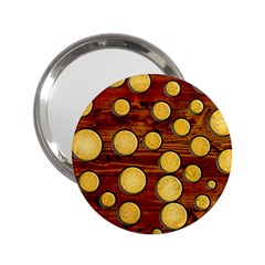 Wood And Gold 2 25  Handbag Mirrors
