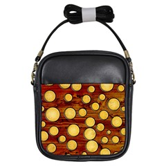 Wood And Gold Girls Sling Bags