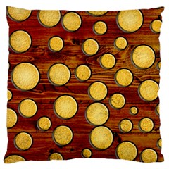 Wood And Gold Large Cushion Case (one Side)