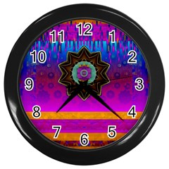 Air And Stars Global With Some Guitars Pop Art Wall Clocks (Black)