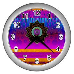 Air And Stars Global With Some Guitars Pop Art Wall Clocks (Silver)