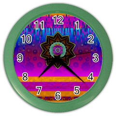 Air And Stars Global With Some Guitars Pop Art Color Wall Clocks