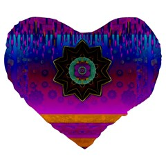 Air And Stars Global With Some Guitars Pop Art Large 19  Premium Flano Heart Shape Cushions