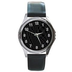 Black Pattern Dark Texture Background Round Metal Watch