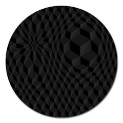 Black Pattern Dark Texture Background Magnet 5  (round)