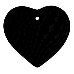 Black Pattern Dark Texture Background Heart Ornament (two Sides)