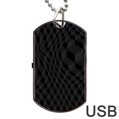 Black Pattern Dark Texture Background Dog Tag USB Flash (One Side)