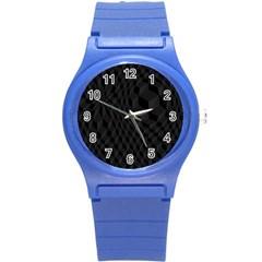 Black Pattern Dark Texture Background Round Plastic Sport Watch (S)