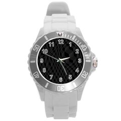Black Pattern Dark Texture Background Round Plastic Sport Watch (l)