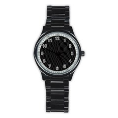 Black Pattern Dark Texture Background Stainless Steel Round Watch