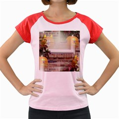 Ghostly Floating Pumpkins Women s Cap Sleeve T-Shirt