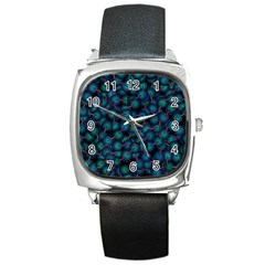 Background Abstract Textile Design Square Metal Watch
