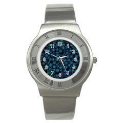 Background Abstract Textile Design Stainless Steel Watch