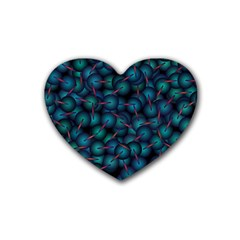 Background Abstract Textile Design Rubber Coaster (Heart)