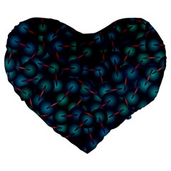 Background Abstract Textile Design Large 19  Premium Flano Heart Shape Cushions
