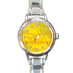 Texture Yellow Abstract Background Round Italian Charm Watch