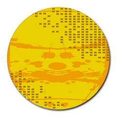 Texture Yellow Abstract Background Round Mousepads