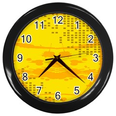 Texture Yellow Abstract Background Wall Clocks (Black)