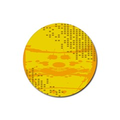 Texture Yellow Abstract Background Rubber Coaster (round)