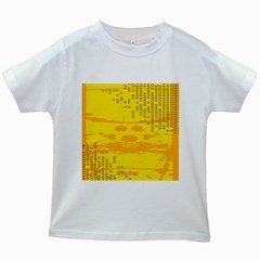 Texture Yellow Abstract Background Kids White T Shirts