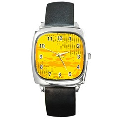 Texture Yellow Abstract Background Square Metal Watch