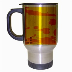 Texture Yellow Abstract Background Travel Mug (Silver Gray)