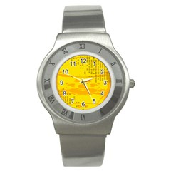 Texture Yellow Abstract Background Stainless Steel Watch