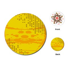 Texture Yellow Abstract Background Playing Cards (Round)