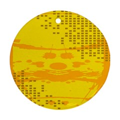 Texture Yellow Abstract Background Round Ornament (Two Sides)