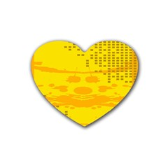 Texture Yellow Abstract Background Heart Coaster (4 pack)