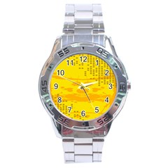 Texture Yellow Abstract Background Stainless Steel Analogue Watch