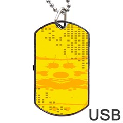 Texture Yellow Abstract Background Dog Tag USB Flash (One Side)