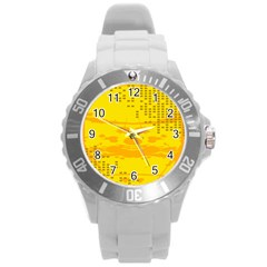 Texture Yellow Abstract Background Round Plastic Sport Watch (l)